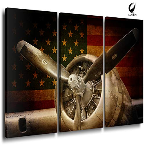 Airplane Decor Canvas Rustic Wall Art America Space Force Aviation Military Aircraft Artwork Printing Vintage Propeller Engine Pictures Modern Living Room Home Interior Decoration 16x32Inch 3PCS