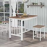 Keebgyy Juego de mesa de comedor y 2 sillas, muebles para el hogar, muebles de comedor, mesa de madera maciza y patas de metal, natural y blanco