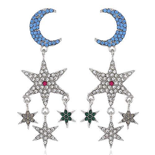 JIAJBG Fashion Creative Exagrated Pendientes Diamante Star Moon Colgante Pendientes Largos Pendientes Pendientes Pendientes Accesorios Femeninos Adecuados para Fiestas, Trabajo Y Vi