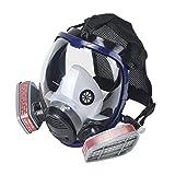OHMOTOR Respiratore Pieno Facciale, Maschera di sicurezza per la protezione del viso con respiratore di vapore organico per vernice, polvere Certificazione CE (Respiratore blu)