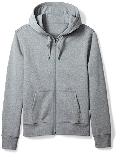 Amazon Essentials Men's Full-Zip Hooded Fleece Sweatshirt, Light Grey Heather, Large