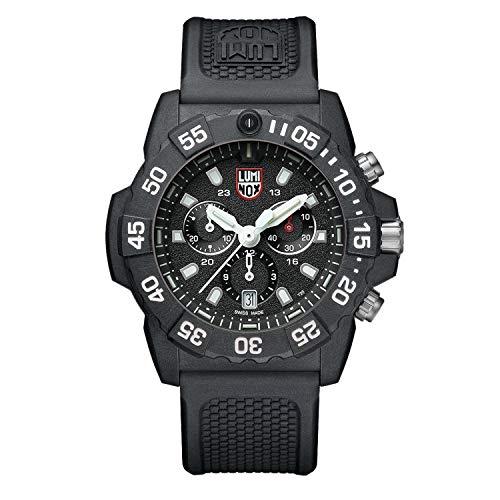 Luminox Navy SEAL Chronograph schwarze Herren Armbanduhr (XS.3581), Swiss Made, energieunabhängiges Beleuchtungssystem, Datumsanzeige, Taucherlünette