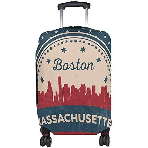 Bandera Americana Vintage Estado de Massachusetts Boston Skyline Funda de Equipaje Protector de...