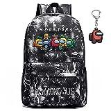 Gloostike Among us Mochila , mochila para estudiantes sWerewolf Killing, mochila para computadora portátil para niños y niñas, regalo para fanáticos de los juegos adolescentes, con llavero (negro(B))
