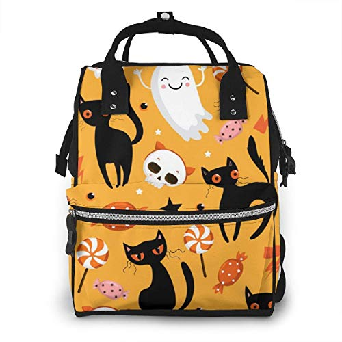UUwant Sac à Dos à Couches pour Maman Halloween Seamless Pattern with Cute Pumpkins Black Cat and Other Elements Diaper Bags Large Capacity Diaper Backpack Travel Nappy Bags Mummy Backpackling
