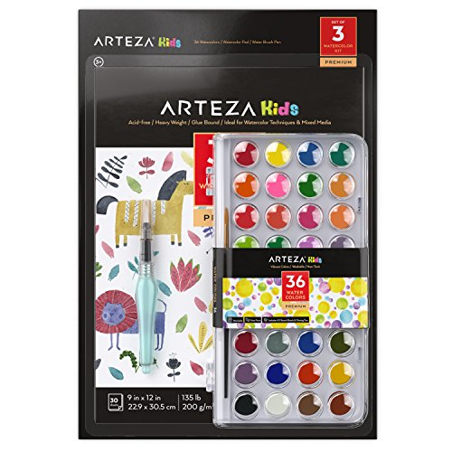 Arteza Water Colors for Children, 36 Watercolor Paint Set, Includes 1 Water Brush Pen and 1 Water Color Pad, Vibrant Watercolor Cakes for Kids, For Painting and Building Fine Motor Skills