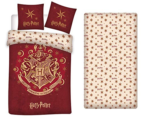LesAccessoires Harry Potter Bettwäsche-Set, Bettbezug 140 x 200 cm + Kissenbezug + Spannbettlaken 90 x 190 cm …