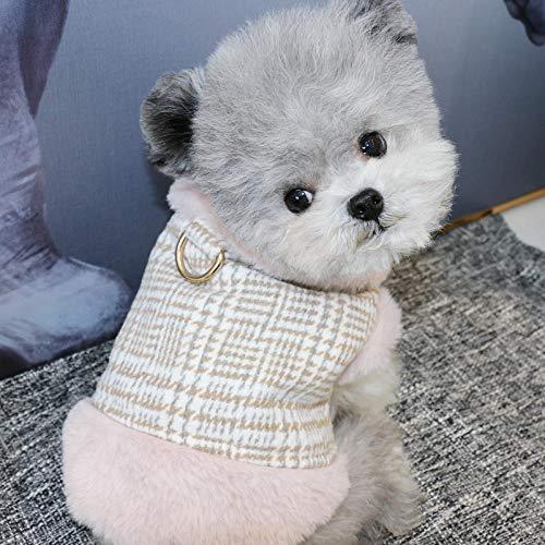 QKEMM Abrigo Aprueba de Perro para Invierno Ropa Botón de Anillo D para Perros Pequeños Medianos y Grandes Mascotas Rosa M