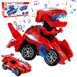 Rusee Transforming Dinosaur Toys, Transforming Dinosaur Cars, Automatic Transform Dino Cars with Music and LED Light, Transform Car Toy for Kids Boys Girls Birthday Gifts (Red)