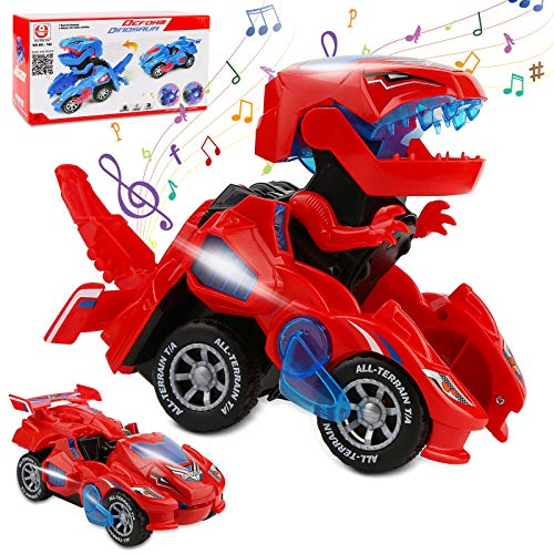 Rusee Transforming Dinosaur Toys, Transforming Dinosaur Car, Automatic Transform Dino Cars with Music and LED Light, Transform Car Toy for Kids Boys Girls Birthday Gifts (Red)