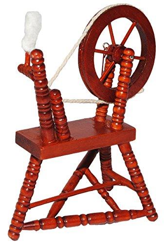 alles-meine.de GmbH Miniatur - Spinnrad & Spindel - aus dunklem Natur Holz - lackiert - für Puppenstube Maßstab 1:12 - Puppenhaus Puppenhausmöbel - zum Spinnen Wolle - Diorama - ..