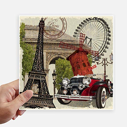 DIYthinker Oude Auto Frankrijk Eiffeltoren Vierkante Stickers 20Cm Wandkoffer Laptop Motobike Decal 4 Stks