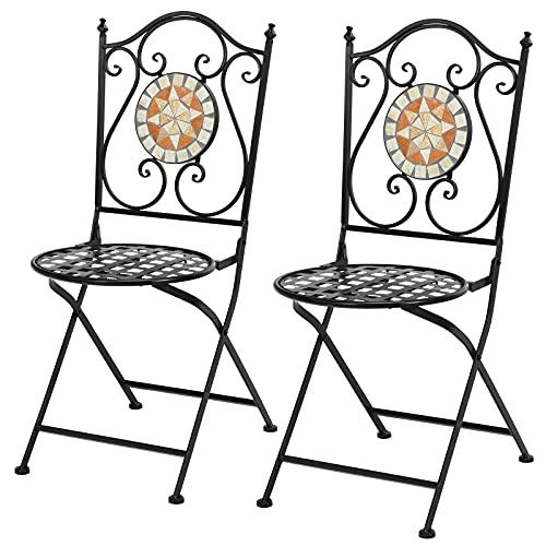 GIANTEX 2er Set Mosaikstühle, Klappstühle Vintage, Bistrostuhl Metall Set, Gartenstühle im Retro-Stil, Balkonstuhl mit Rückenlehne, Stuhl Set für Garten Terrasse Balkon Café