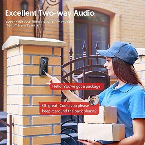 Victure Video Timbre Inteligente con Cámara 1080P HD,Detección de Movimiento PIR,Comunicación Bidireccional,IP65 Impermeable,Instalación Fácil