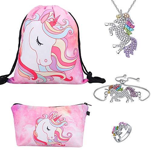 Einhorn Geschenke für Mädchen 5 Pack - Einhorn Kordelzug Rucksack/Make-up Tasche/Einhorn-Halskette/Einhorn-Armband/Einhorn Ring