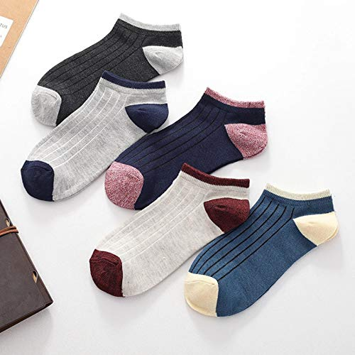 10 Paare Unisex Summer Mens Socks Cotton with Stripe and Star Shallow Mouth No Show Socks Men
