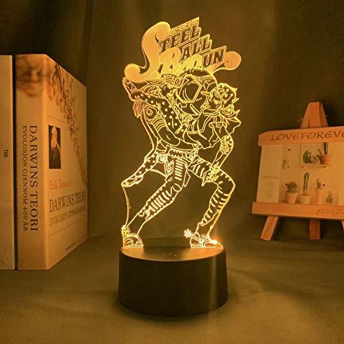 Jojo Bizarres Aventura Hol Paard Lámpara LED 3D ilusión Lámpara de escritorio de anime japonés, para niños, dormitorio, decoración, luz nocturna, regalo de cumpleaños