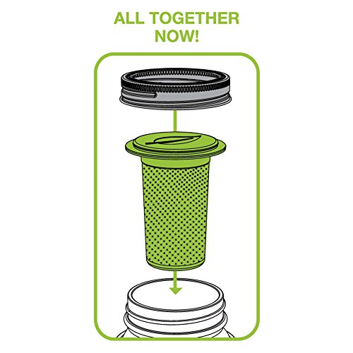 Jarware 82621 Tea Infuser Lid for Regular Mouth Mason Jars, Green