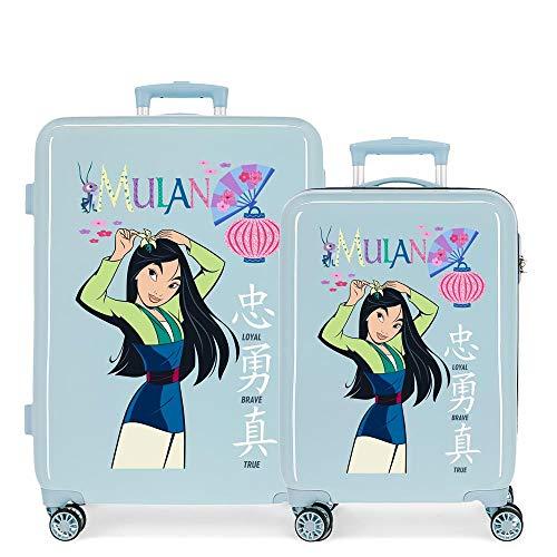 Disney Princess Celebration Suitcase Set Blue 55/68 cm Rigid ABS Side Combination Lock 104L 2.7 kg 4 Double Wheels Hand Luggage