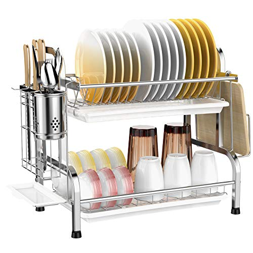 Dish Drying Rack Veckle 2 Tier Dish Rack 304 Stainless Steel Utensil Holder Cutting Board Holder Dish Drainer with Removable Drain Board for Kitchen Countertop Silver