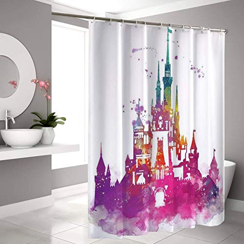 changchuan Disney Collection Shower Curtain Disney Castle Bathroom Shower Curtains with Hooks 60X72 Inch