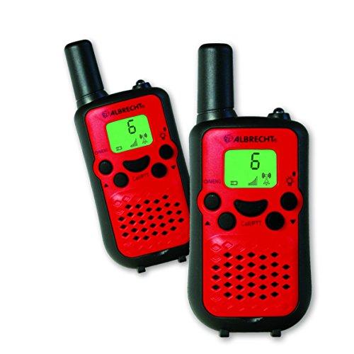 Albrecht Tectalk Easy 2, PMR 446 Funkgerät, Walkie Talkie, Paar, Rot mit Micro-USB Ladebuchse und Gürtelclip