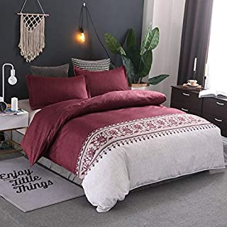 JZCXKJ 12 Colors Bedding Set Nordic Modern Style Marble Pattern Printed Duvet Cover SetDouble Full Queen King Size Bed Linen 8 Size 200x230cm (3Pcs) Red