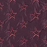 Fabulous Fabrics Steppstoff Bestickt Sterne – Bordeauxrot