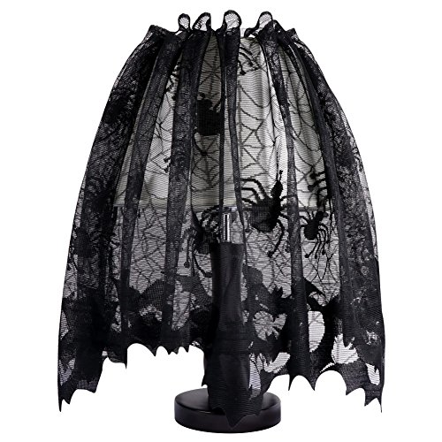 Aytai 18 x 60 Inch Halloween Black Lace Lamp Shade Cover with Ribbon, 3 in 1 Black Spider Lamp Shade Covers for Halloween Decorations