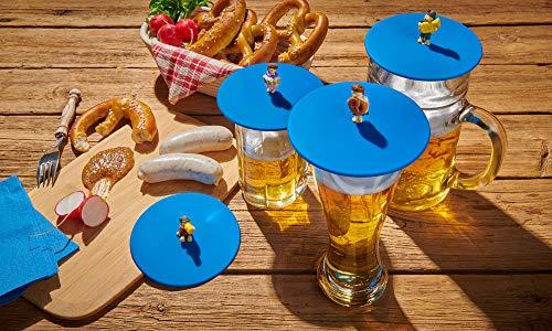 Lurch 210300 Mein Deckel Biergarten 4er Set Glasabdeckungen mit lustigen Figuren