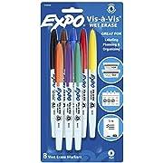 EXPO Vis-à-Vis Wet Erase Markers, Fine Point, Assorted Colors, 8 Count