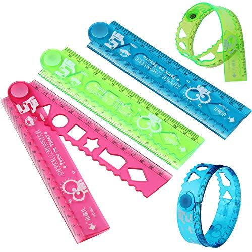 3 Reglas Plegables de Plástico Regla de Dibujo de 30 cm Regla de Plástico Flexible para Oficina Escuela Papelería Estudiantes Niños, Multifuncional, 3 Colores