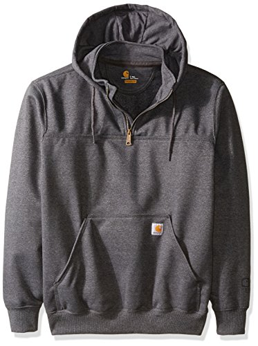 Carhartt Men's Big & Tall Rain Defender Paxton Heavy Weight Hooded Zip Mock Sweatshirt, Carbon Heather, 2X-Large/Tall