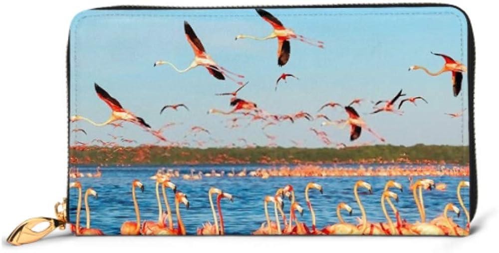 Fashion Handbag Zipper Wallet Many Pink Beautiful Flamingos Blue Lagoon Phone Clutch Purse Evening Clutch Blocking Leather Wallet Multi Card Organi