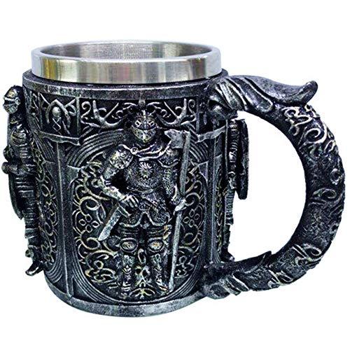 lxfy Boccale da Birra Cavaliere Romano Medievale da 500 ml, Tazza da caffè in Acciaio Inossidabile, Tazza Regalo per Collezionisti di Cavalieri Romani, Boccale da Birra Viking