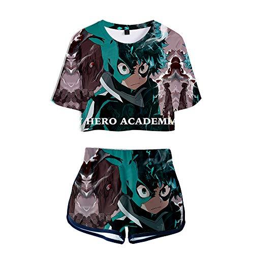 NLJ-lug My Hero Academia Sports Girls Set de dos piezas Anime Jersey figura camisetas pantalones cortos, M