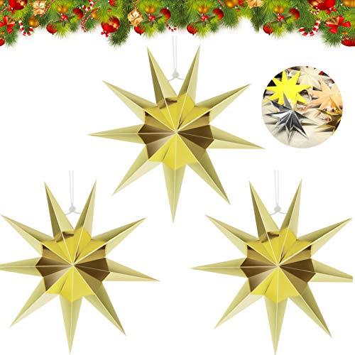3pcs Estrella de Papel Decorativo,30cm Papel Estrellas decoración de Navidad,Estrellas decorativas para papel,Estrella de papel de Navidad,Papel 3D diseño de estrella (dorado-3)