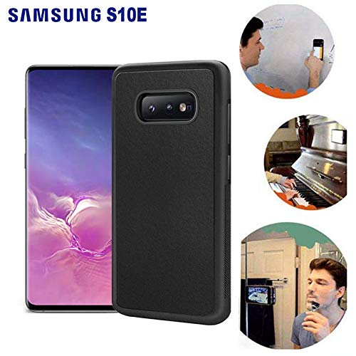 Wingcases for Samsung Galaxy S10E/S10 Lite Case, Anti Gravity Black Case Magic Nano Sticky Case for Galaxy S10e Suction Stick on The Smooth Surface Mirror Screen Wall Selfie Case with Dust Proof Film