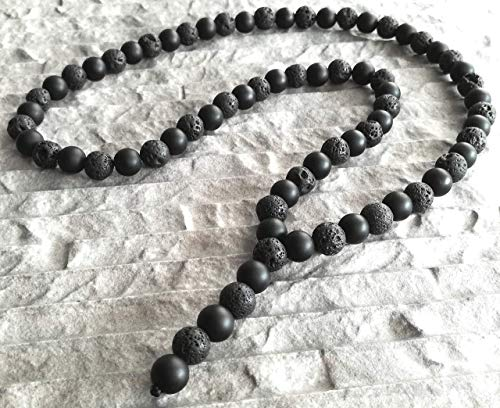 Collana rosario pietra semipreziosa ONYX opaco LAVA catena Y motociclista moda uomo moda donna pietra naturale perle 10mm Rosario/ALLA