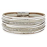 StarAppeal Armband Lederarmband mit Strass, Ketten und Schmuckelementen, Magnetverschluss Silber, Damen Armband (Weiß)