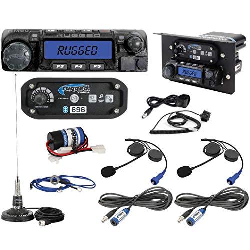 Best Price Rugged Radios XP1-KIT-HK Polaris RZR Complete UTV Communication Kit with RM60 VHF 60 Watt Radio, RRP696 Bluetooth Intercom, 2 Alpha Audio Helmet Kits, Cables, Antenna, and Mounts