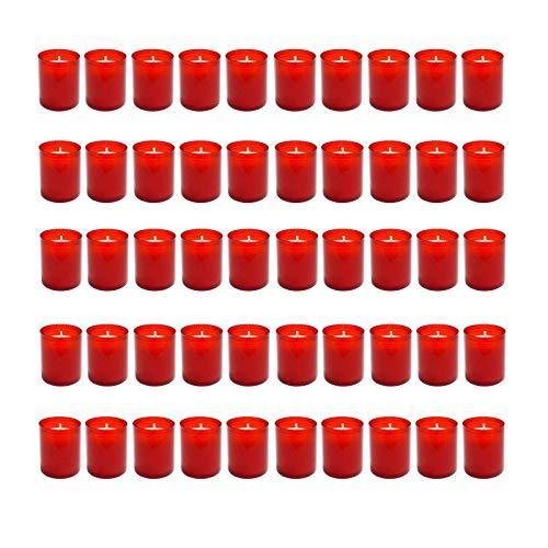 HAC24 50 Stück Grablicht Rot Grabkerze Kleine Friedhofskerzen Grabbrenner Nr.24 Gedenkkerze Grableuchte Trauerlicht Grablichtkerze Grabdekoration