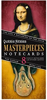 Masterpieces of Art Card Set - 8 Die Cut Silhouette Cards Cards With Envelopes, and 4 Sticker Sheets - The Kiss, Degas' Ballerina, The Mona Lisa, and the Scream