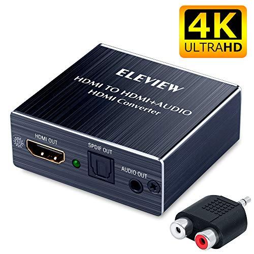 ELEVIEW 4K HDMI 音声分離「 HDMI入力→HDMI+Toslink/SPDIF+3.5mm音声出力」HDMIデジタルオーディオ分離器 光デジタル/アナログステレオ出力 HDMI 音声分離器 HDMIサウンド分離器 hdmi 音声 分離 4k PS3/PS4/XBOX/Blu-ray/DVD/HD Player/Apple TV対応(日本語取説)