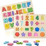 ZWOOS Puzzle de Madera 2 Piezas Colorido Alfabeto ABC Cartas Números Formas Rompecabezas Madera Puzzles para niños en Edad Preescolar, educación temprana niño y el Desarrollo