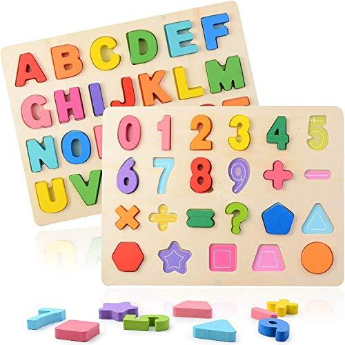 ZWOOS Puzzle en Bois 2 Pièces Alphabet en Bois et Numéro d'apprentissage Jouet pour Apprendre Les Lettres, Assortir et Trier, Montessori Apprentissage précoce Cadeau Jouet Éducatif