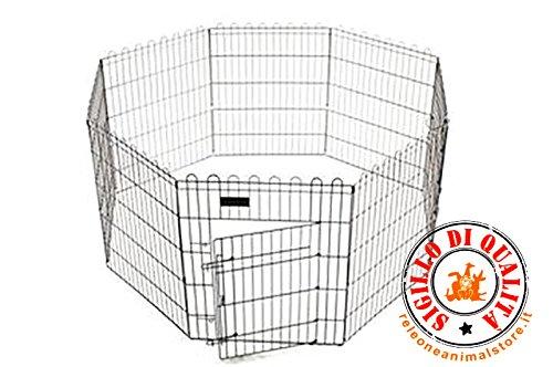 Ferribiella Recinto modulare per cuccioli, cani, gatti, roditori, otto pannelli cm. 61 x 76 h richiudibile