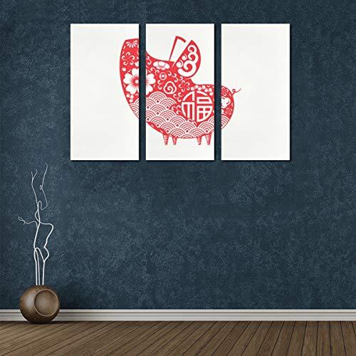 3 Panel Wandkunst für Wohnzimmer 2019 Chinesisches Neujahrssymbol Schwein Frauen Leinwand Wandkunst Wanddekoration 3D Wandfarbe für Badezimmer für Zuhause Wohnzimmer Schlafzimmer Badezimmer Wanddekor