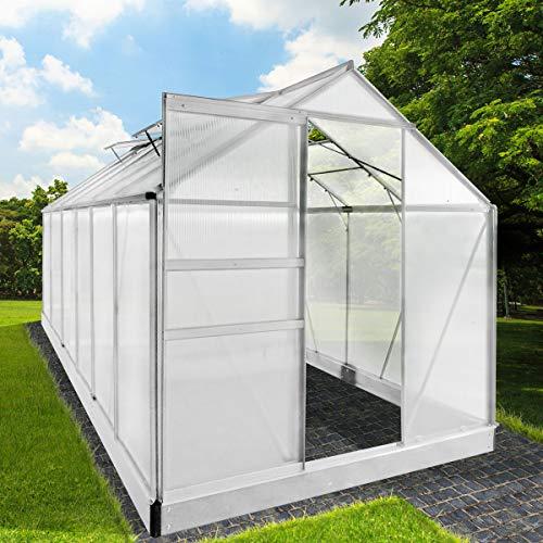 BRAST Gewächshaus Aluminium mit Stahlfundament 11,7 m³ Alu Gartenhaus Treibhaus 380x190x195cm 6mm Platten