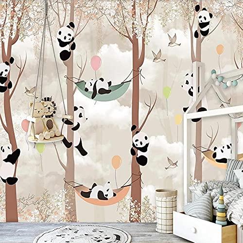 Papel pintado tejido no tejido Animal de cuna de columpio de selva blanco caqui vinilos pared fotomurales decorativos pared para Sala de Estar Habitación Cocina Fondo de TV 300x210cm